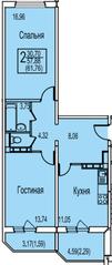 ЖК «Ледово», планировка 2-комнатной квартиры, 61.76 м²