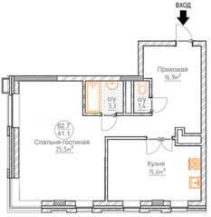 ЖК «Суханово Spa Deluxe», планировка 1-комнатной квартиры, 62.70 м²