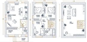 МЖК «Князев Град», планировка 3-комнатной квартиры, 137.00 м²