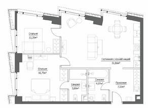 ЖК «Hide», планировка 3-комнатной квартиры, 76.47 м²