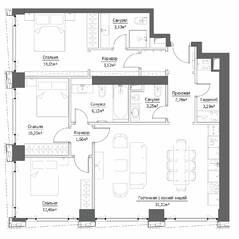 ЖК «Hide», планировка 4-комнатной квартиры, 97.00 м²