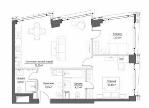 ЖК «Hide», планировка 3-комнатной квартиры, 74.22 м²