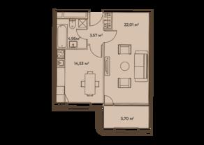 ЖК «Врубеля, 4», планировка 1-комнатной квартиры, 50.75 м²