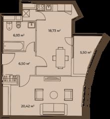 ЖК «Врубеля, 4», планировка 1-комнатной квартиры, 59.18 м²