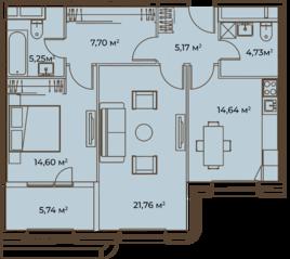 ЖК «Врубеля, 4», планировка 2-комнатной квартиры, 79.59 м²