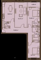 ЖК «Врубеля, 4», планировка 3-комнатной квартиры, 108.74 м²
