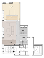 ЖК «Savvin River Residence», планировка 2-комнатной квартиры, 117.60 м²