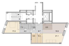ЖК «Savvin River Residence», планировка 3-комнатной квартиры, 95.70 м²