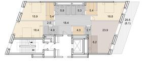 ЖК «Savvin River Residence», планировка 4-комнатной квартиры, 142.70 м²