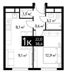 ЖК «Dialog», планировка 1-комнатной квартиры, 38.40 м²