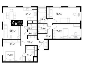 ЖК «Dialog», планировка 4-комнатной квартиры, 120.60 м²