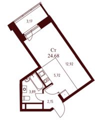 ЖК «Воскресенский» (Наро-Фоминск), планировка студии, 24.68 м²