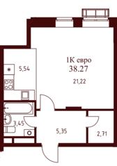 ЖК «Воскресенский» (Наро-Фоминск), планировка студии, 38.27 м²