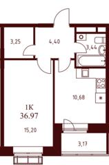ЖК «Воскресенский» (Наро-Фоминск), планировка 1-комнатной квартиры, 36.97 м²