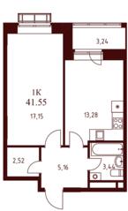 ЖК «Воскресенский» (Наро-Фоминск), планировка 1-комнатной квартиры, 41.55 м²