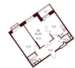 ЖК «Воскресенский» (Наро-Фоминск), планировка 2-комнатной квартиры, 61.63 м²
