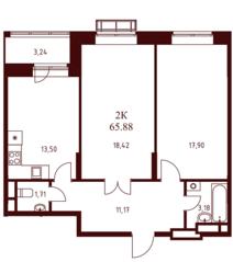 ЖК «Воскресенский» (Наро-Фоминск), планировка 2-комнатной квартиры, 65.88 м²