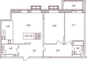 ЖК «Воскресенский» (Наро-Фоминск), планировка 2-комнатной квартиры, 83.29 м²