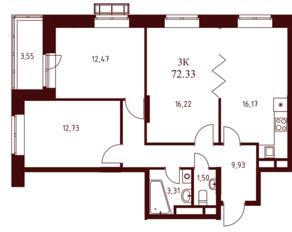 ЖК «Воскресенский» (Наро-Фоминск), планировка 3-комнатной квартиры, 72.33 м²