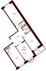 ЖК «Воскресенский» (Наро-Фоминск), планировка 3-комнатной квартиры, 86.26 м²