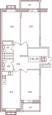 ЖК «Воскресенский» (Наро-Фоминск), планировка 3-комнатной квартиры, 100.81 м²