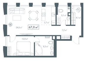 ЖК «White Khamovniki», планировка 1-комнатной квартиры, 67.00 м²
