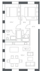 ЖК «White Khamovniki», планировка 2-комнатной квартиры, 78.70 м²