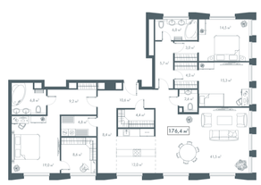 ЖК «White Khamovniki», планировка 4-комнатной квартиры, 176.40 м²