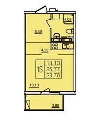ЖК «Финский», планировка студии, 28.76 м²