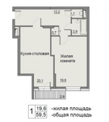 ЖК «Бульвар Матроса Железняка 11», планировка 1-комнатной квартиры, 59.50 м²