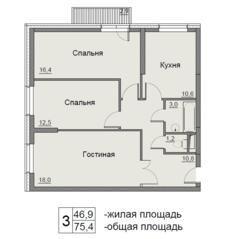 ЖК «Бульвар Матроса Железняка 11», планировка 3-комнатной квартиры, 75.40 м²