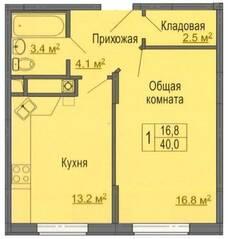 МЖК «Дмитрослав», планировка 1-комнатной квартиры, 40.00 м²