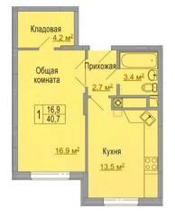 МЖК «Дмитрослав», планировка 1-комнатной квартиры, 40.70 м²