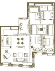 МФК «Царев сад», планировка 3-комнатной квартиры, 198.05 м²