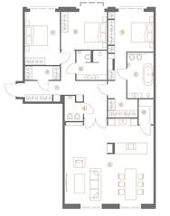 ЖК «Turgenev», планировка квартиры со свободной планировкой, 149.40 м²
