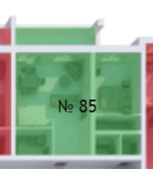 МФК «Яхонтовый лес», планировка квартиры со свободной планировкой, 64.00 м²