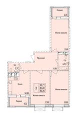 ЖК «Серебряные росы», планировка 3-комнатной квартиры, 89.25 м²