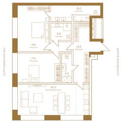 ЖК «Композиция №24», планировка 3-комнатной квартиры, 102.80 м²