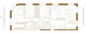 ЖК «Композиция №24», планировка 4-комнатной квартиры, 123.90 м²