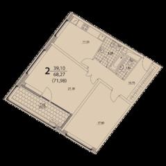 ЖК «Prizma», планировка 2-комнатной квартиры, 71.98 м²