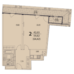 ЖК «Prizma», планировка 2-комнатной квартиры, 64.42 м²