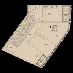 ЖК «Prizma», планировка 3-комнатной квартиры, 119.75 м²