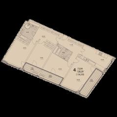 ЖК «Prizma», планировка 4-комнатной квартиры, 136.50 м²