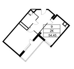 ЖК «Исток», планировка 2-комнатной квартиры, 54.20 м²