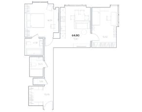 МФК «Residence Hall Шаболовский», планировка 2-комнатной квартиры, 63.86 м²