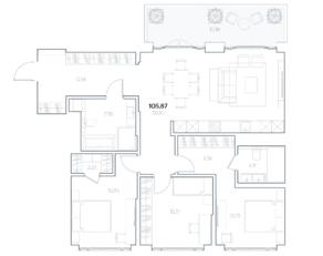 МФК «Residence Hall Шаболовский», планировка 3-комнатной квартиры, 105.87 м²