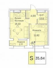 ЖК «Аквилон Beside», планировка 2-комнатной квартиры, 35.84 м²