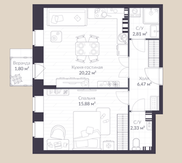 МЖК «Veren Village стрельна», планировка 1-комнатной квартиры, 49.50 м²