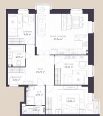 МЖК «Veren Village стрельна», планировка 3-комнатной квартиры, 83.30 м²