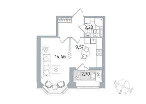 ЖК «Новое Купчино», планировка 1-комнатной квартиры, 33.42 м²